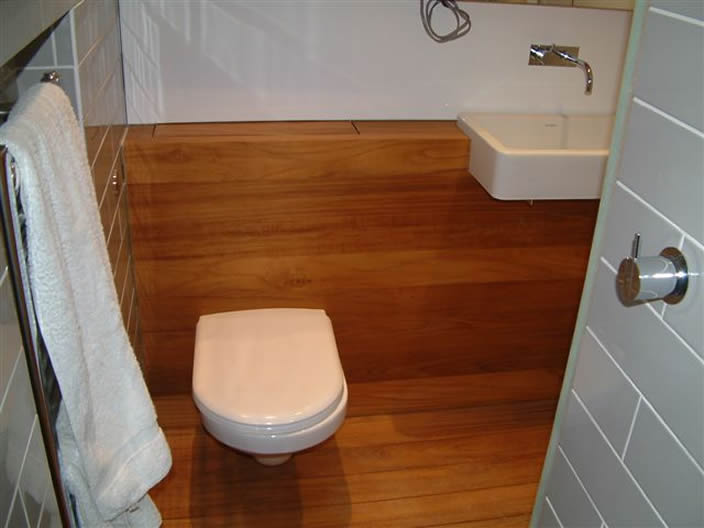 Gilson furniture custom built bathroom furniture for Teak wood flooring for bathrooms